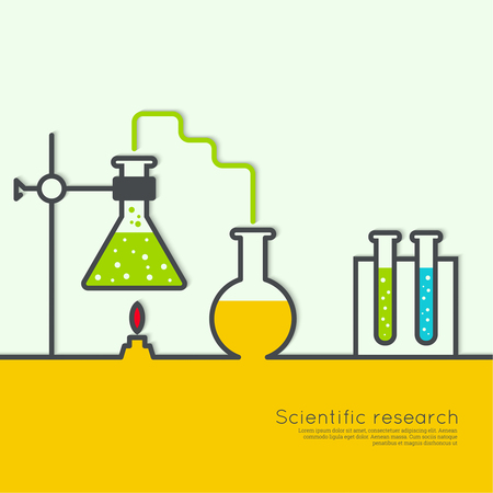 Le concept de la science chimique cornues de laboratoire de recherche, béchers, flacons et autres équipements. Les tests biologiques et scientifiques. découverte de nouvelles technologies Vecteurs