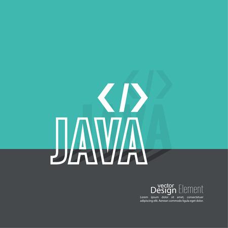 java script: Progrmming code vector. Closing brackets and slash, java. Operator in a programming language. Flat design with shadow. Illustration