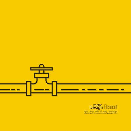 aguas residuales: La tubería con una llave de paso. lineas de ilustración vectorial. Vectores
