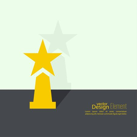 acknowledgment: The award, star winner on the podium near wall with flat shadow. Concept of success, winning. minimal.