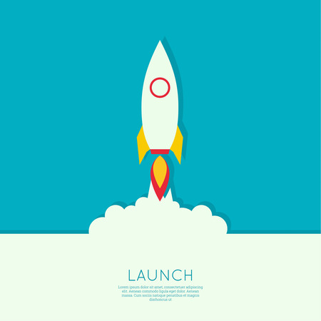 Icon for a start up business project.The launch with clouds of smoke. flat design. minimal.