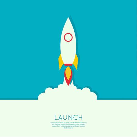 Icoon voor een startende onderneming project.The lancering met rookwolken. plat ontwerp. minimaal. Stock Illustratie