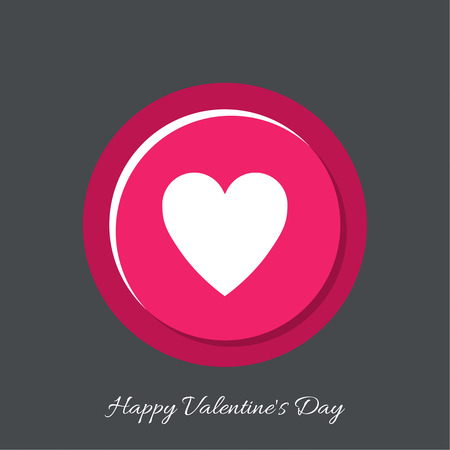 happy web: Button heart. Web icon. symbol of love. flat design. Happy Valentines Day Illustration