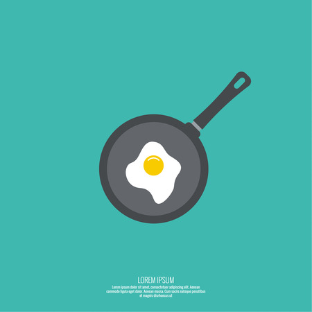 skillet: Fried egg in a frying pan. Icon. Flat design for the menu of restaurants, cafes