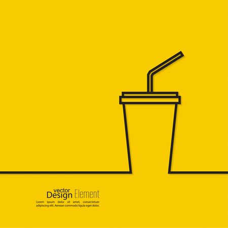 paper art: Abstract background with  paper cup and  drink with a straw. Line art