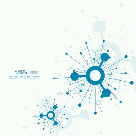 通信: 動的放出粒子の配列。ノードの分子構造。科学と接続の概念。爆発や破壊。テクノ研究、脳細胞、ニューロン