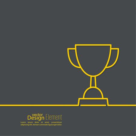 Feier: Gold Cup der Gewinner auf Podest. Zusammenfassung Hintergrund. minimal. Skizzieren Illustration