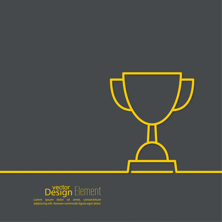 ceremony: Gold cup of the winner on  pedestal. Abstract background. minimal. Outline