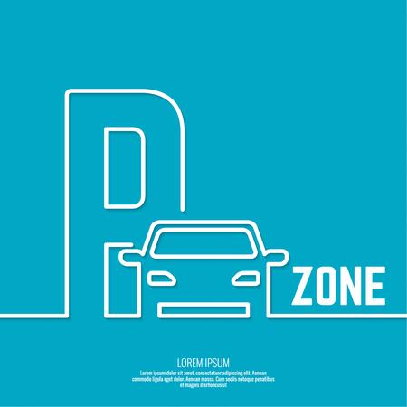 Pointeur vers la zone de stationnement de voiture. Vector icône. Contour Vecteurs
