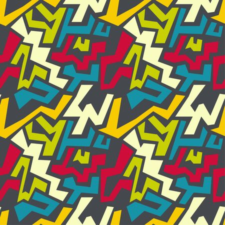 irregular shapes: Vector seamless pattern with multi-colored geometric shapes of irregular shape. Seamless Texture. yellow, red, orange, blue, green Illustration