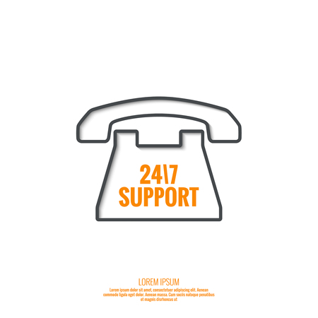 dialer: Abstract background with telephone and handset. Icon. Call technical support. 24, 7. helpline, support service. Contacts. vector. Flat design with shadow. minimal, outline, pictogram Illustration