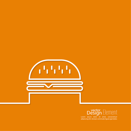 calories: Hamburger icon on background. Fast Food. Calories and fatty foods. Outline. minimal. Line art. Burger