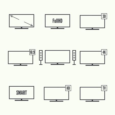 ultra modern: Vector black tv icon set. TVs with different standards. Illustration