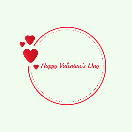 Resumen de fondo con corazones rojos flotando. Texto del día de San Valentín feliz