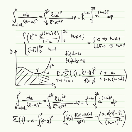 integral: Vector pattern with mathematical formulas, calculations, graphs, proof and scientific research in the field of algebra. Paper sheet with hand-drawn characters.