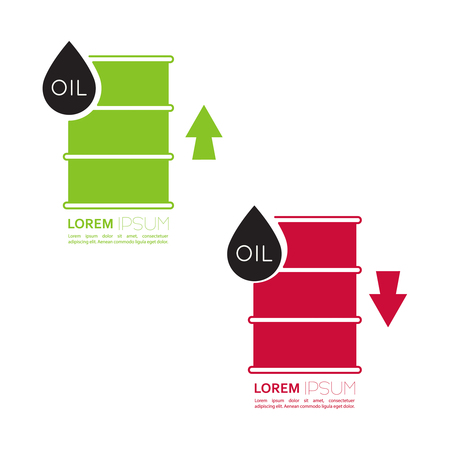 power failure: Oil barrels with indicators rise and fall. Illustration