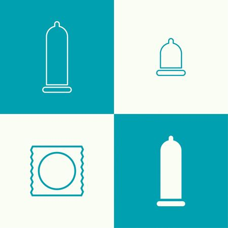 contraceptive: Set vector icons with expanded condom. Icon. Symbol prevention of sexually transmitted diseases. minimal. Outline