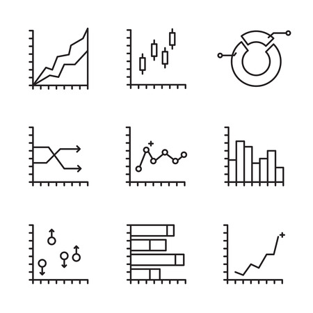 business efficiency: Set statistics icon. Graphic analysis and asset management. Information chart profits. Business efficiency and investment. finance data. Line art, web and  mobile app