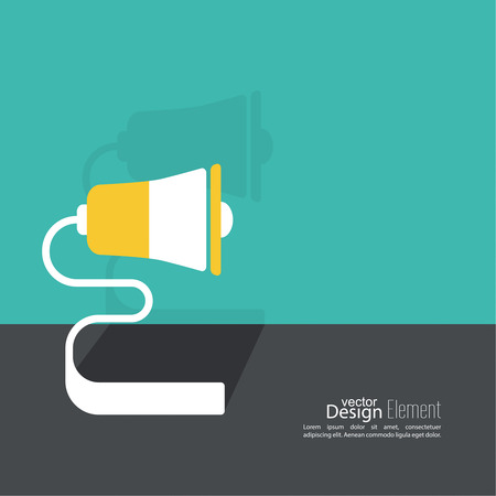 loud hailer: Megaphone, loudspeaker. for social media marketing concept. Notification through the speaker, advertisement bullhorn. Contacts. Flat design with shadow.