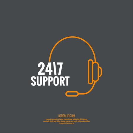 Fondo abstracto con el telefono. Icono. Llame a soporte técnico. 24, 7. línea de ayuda, servicio de apoyo. Contactos. vector. Diseño plano. mínima, contorno, pictograma Ilustración de vector