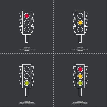 stop light: Abstract background with traffic lights. Red, green, yellow light. vector icons. Outline. minimal.