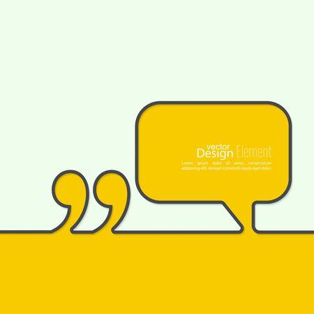 dialogo: Comilla burbuja del discurso y el símbolo de Chat. Contorno.