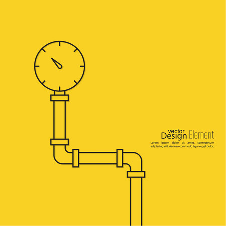 pressure gauge: The pipeline with pressure gauge. Vector illustration lineart. Illustration