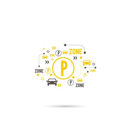 Pointer to the car parking zone. Vector icon. Outline