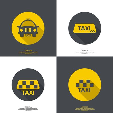 passenger transportation: Taxi sign. The machine cab for quick transport of passengers. minimal. flat design. button for web and mobile applications. Illustration