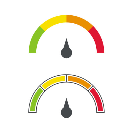 El dispositivo de medición con una escala de colores. Verde, amarillo, naranja, rojo. Velocímetro. El concepto de la máxima aceleración y velocidad. Ilustración de vector