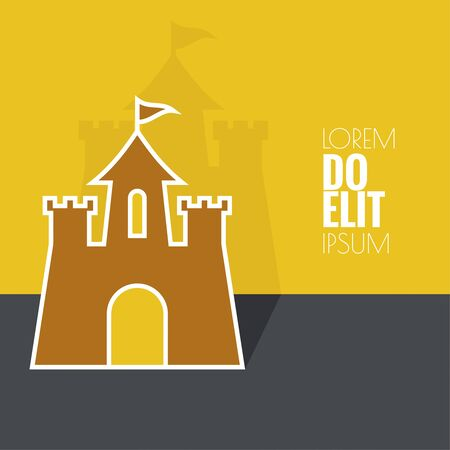 Abstract background with a medieval fortress and castle. flat design.
