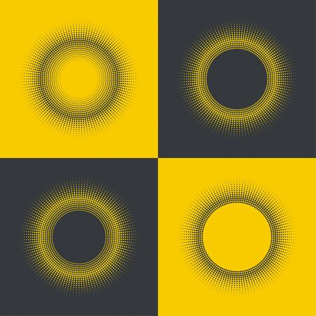 differing: Round banner of pixels. Differing halftone ring. Geometric Shapes and Light Ray. Yellow set