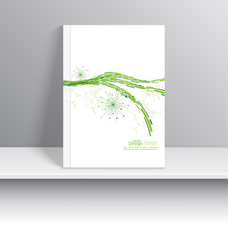 node: Magazine Cover with dynamic emitted particles. Node molecule structure. Science and connection concept. green curve