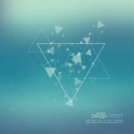 debris: Abstract blurred background with hipster stream flying triangles debris. Triangle pattern background. For cover book, brochure, flyer, poster, magazine, cd cover design, t-shirt. Vector design.