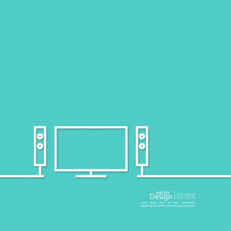 hi fi: Abstract background with TV and audio system. Line art
