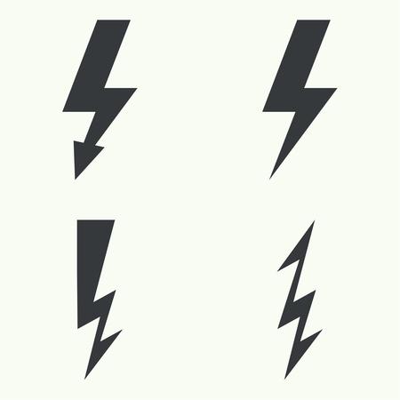 descarga electrica: Vector conjunto de iconos de iluminación truenos. rayos eléctricos. Peligro
