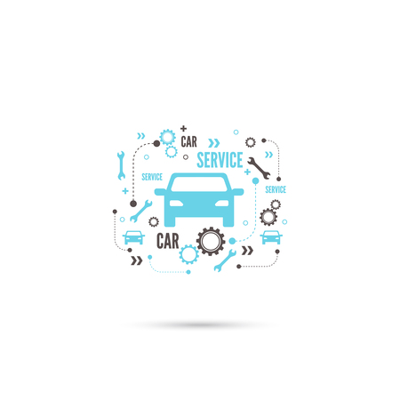 car maintenance: Abstract background with a car, keys, gears. Service and repair