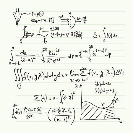 Vector patrón con fórmulas matemáticas, cálculos, gráficos, la prueba y la investigación científica en el campo del álgebra. Hoja de papel con personajes dibujados a mano.