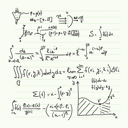 matematica: Vector patrón con fórmulas matemáticas, cálculos, gráficos, la prueba y la investigación científica en el campo del álgebra. Hoja de papel con personajes dibujados a mano.