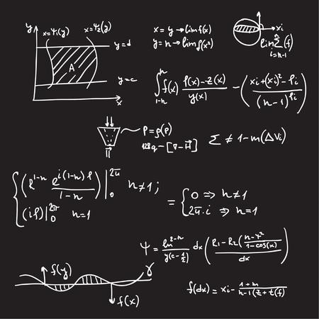 teorema: Vector patrón con fórmulas matemáticas, cálculos, gráficos, la prueba y la investigación científica en el campo del álgebra. Hoja de papel con personajes dibujados a mano.