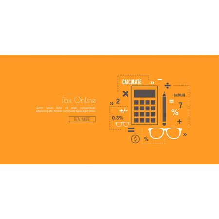 bank activities: Accounting and Taxes. The concept of counting profit business activities. Bank and stock calculations. Line art. Web and mobile app. Tax online Illustration