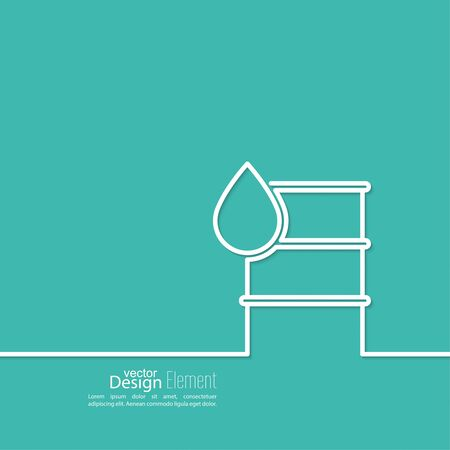 barel: Icon petroleum barrels of oil drop. Line art