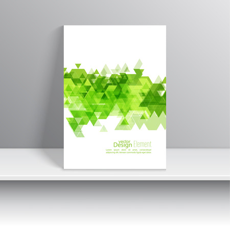 business flyer: Magazine Cover with leaves, triangles. For book, brochure, flyer, poster, booklet, leaflet, postcard, business card, annual report. green, Spring.
