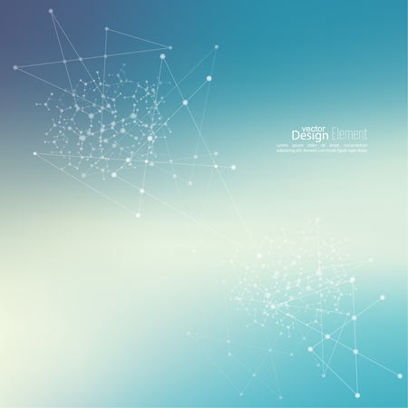 compounds: Virtual abstract background with particle, molecule structure. genetic and chemical compounds. Space and constellations. Science and connection concept. Social network. Blurry soft creative vector.