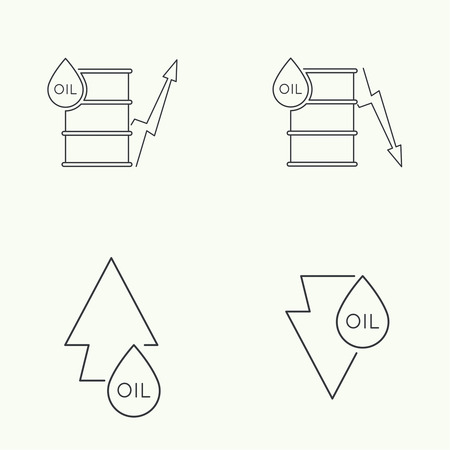 power failure: Oil barrels with indicators rise and fall. Icon line art