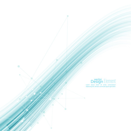 background information: Abstract background with blue wave stripes. Concept new technology and dynamic motion. Digital Data Visualization.  Annual Report with information dots, circle Illustration