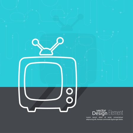 commercials: Abstract background with old TV and antenna. Browse TV shows, commercials, movies and TV series. homeliness. Flat design with shadow. Outline