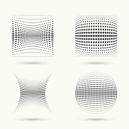 diameters: The dynamic object curved waves. halftone. Dots of various diameters. Set.