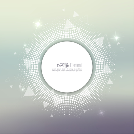 circle frame: Abstract blurred vector background with sparkle stars with round banner dots, scatter triangles. for Merry Christmas, New Year, anniversaries, festivals, birthday, Xmas.