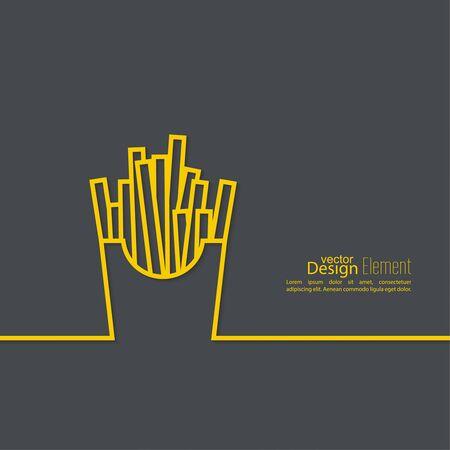 fastfood: French Fries trong Hộp giấy. Thiết kế vector fastfood. nền trừu tượng với một cái bóng. nghệ thuật đường.